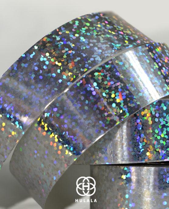 taśma holograficzna do hula hop sequins srebrna